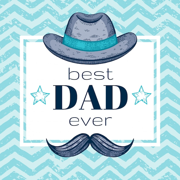 Heureuse carte de voeux de fête des pères avec chapeau rétro et moustaches. style de griffonnage. Vecteur Premium