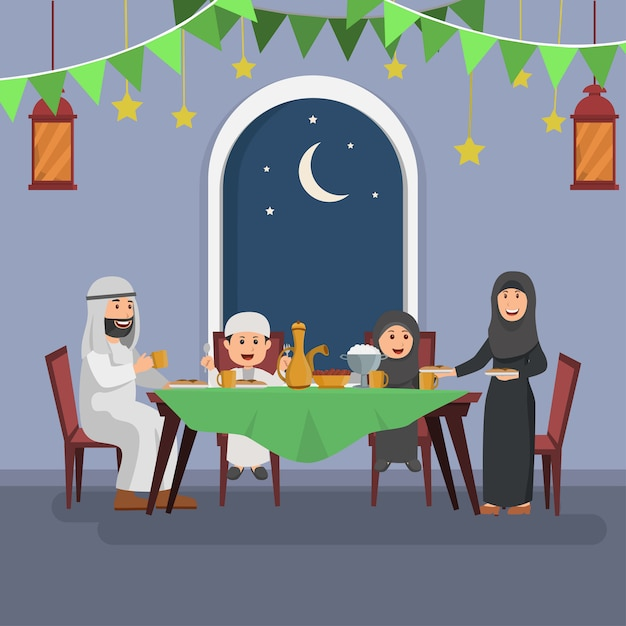 Heureuse famille arabe bénéficiant d'iftar Vecteur Premium