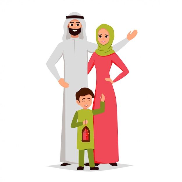 Heureuse famille arabe s'embrassent Vecteur Premium