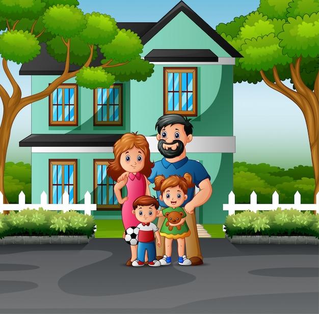 Heureuse Famille Devant La Maison Vecteur Premium