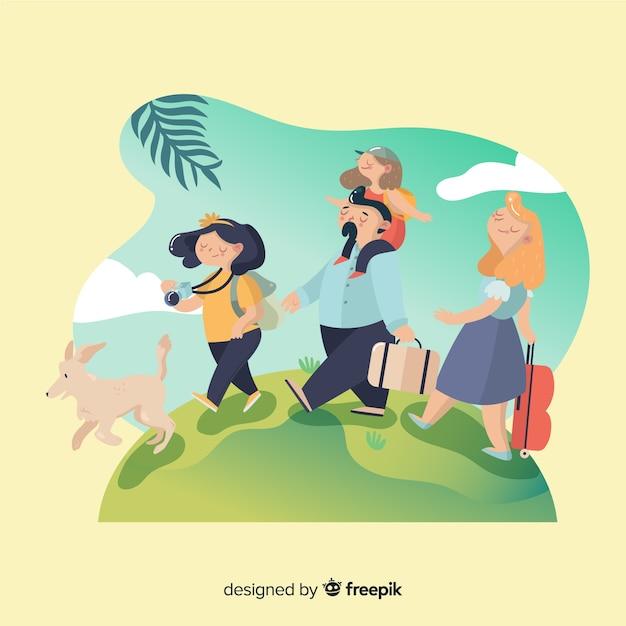 Heureuse famille voyageant style cartoon Vecteur gratuit