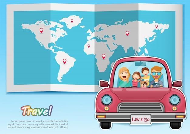 Heureuse famille voyageant en voiture rouge dans le monde entier Vecteur Premium