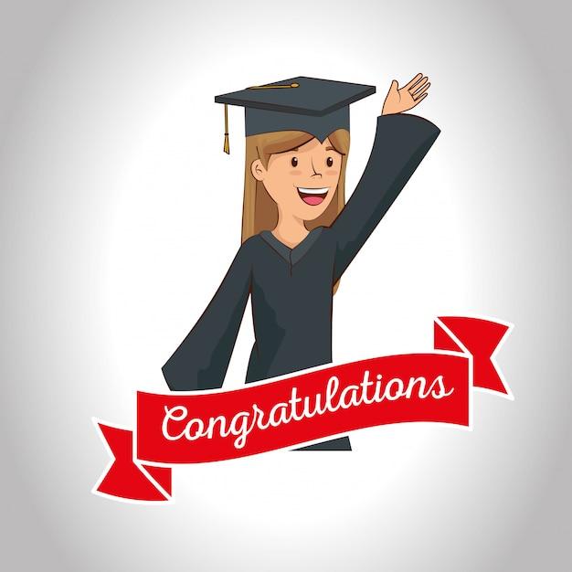 Heureuse femme célébrer l'obtention du diplôme avec ruban Vecteur gratuit
