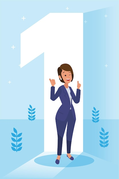 Heureuse Femme D'entreprise A Fait Son Travail En Tant Que Vison & Mission Et Célébrant, Concept De Réussite En Leadership Et De Progrès De Carrière, Illustration Plate Vecteur gratuit