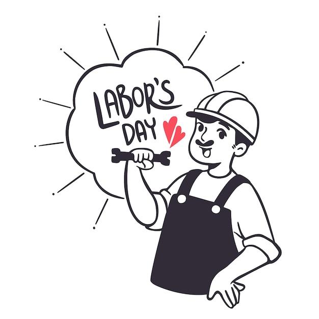 Heureuse fête du travail illustration style dessiné à la main Vecteur Premium
