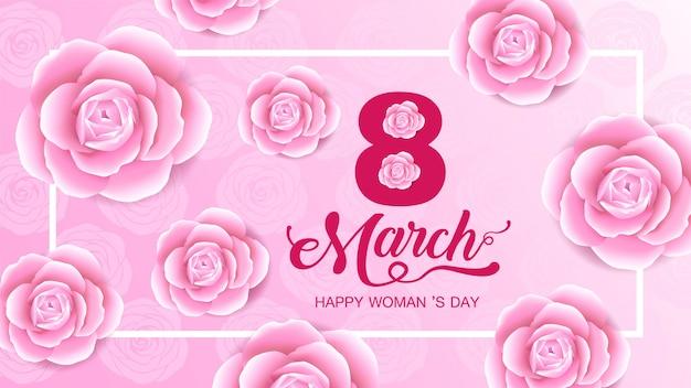 Heureuse fête des femmes, 8 mars, fond de fleurs. Vecteur Premium