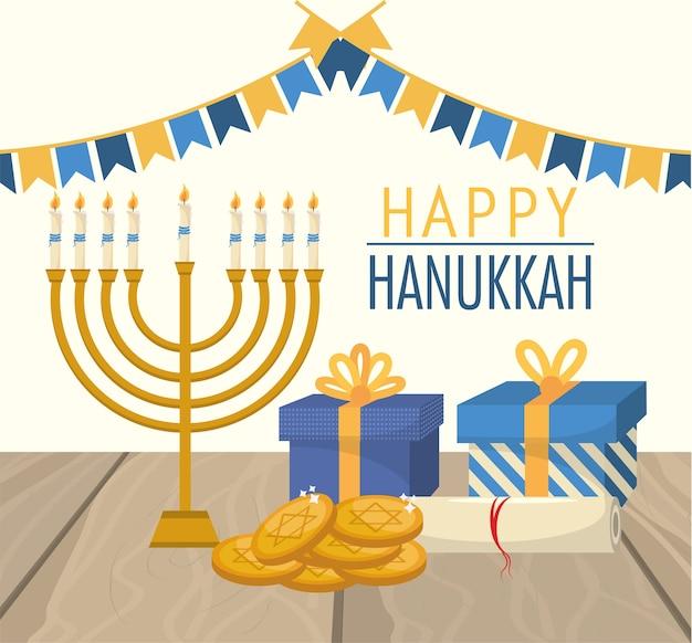 Heureuse fête de hanoukka avec drapeaux de fête Vecteur Premium