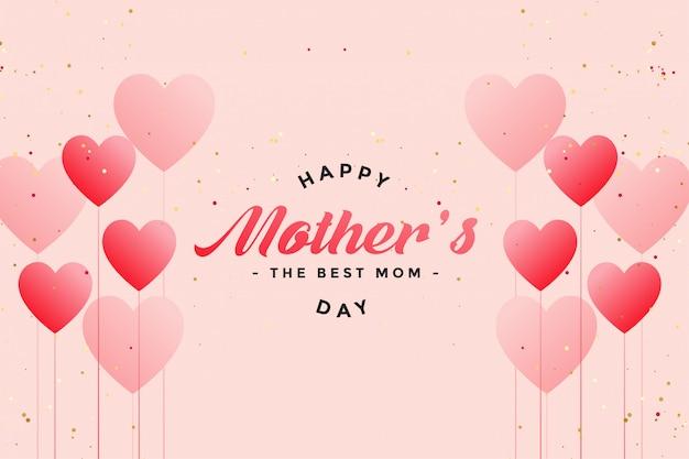 Heureuse fête des mères ballon coeurs salutation Vecteur gratuit