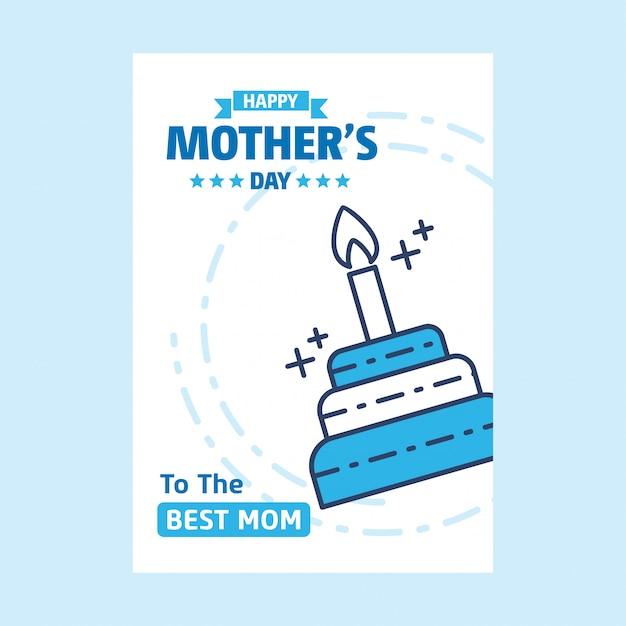 Heureuse fête des mères lettrage fond bleu Vecteur gratuit