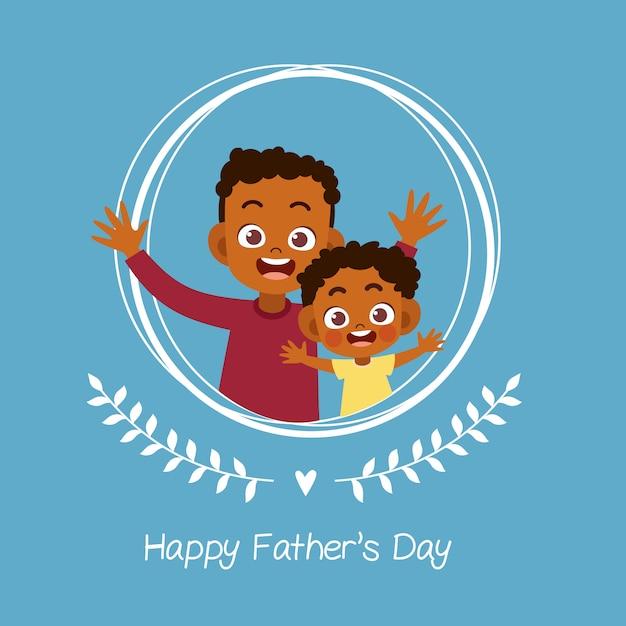 Heureuse Fête Des Pères Carte Salutation Vector Illustration Vecteur Premium