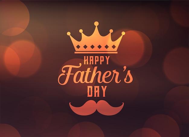 Heureuse fête des pères voeux avec couronne Vecteur gratuit