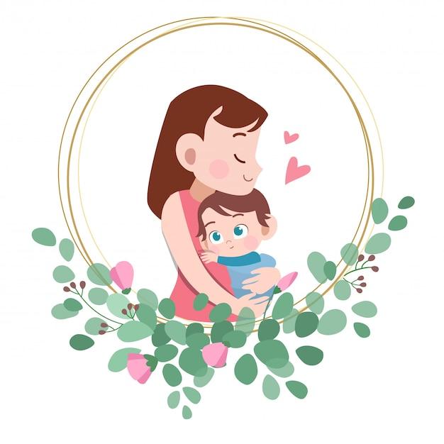 Heureuse illustration vectorielle de fête des mères carte salutation Vecteur Premium