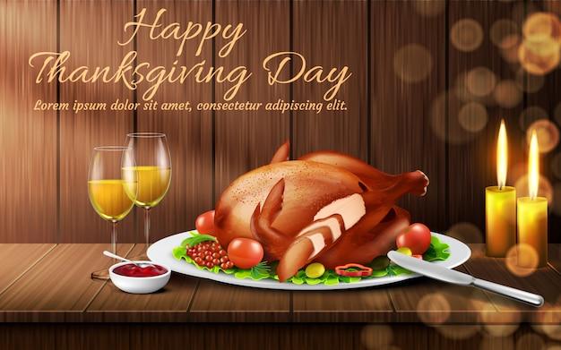 Heureuse journée de thanksgiving. dîner de vacances traditionnel, dinde rôtie aux légumes Vecteur gratuit