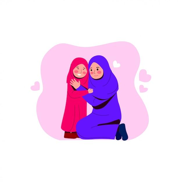 Heureuse mère arabe étreint sa fille Vecteur Premium