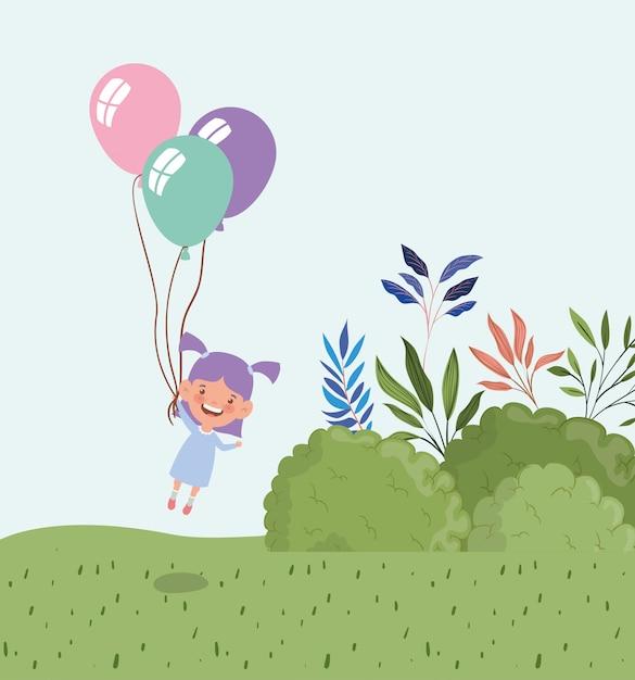 Heureuse petite fille à l'hélium ballon dans le paysage de champ Vecteur gratuit