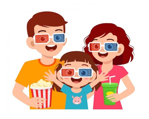 Heureuse Petite Fille Mignonne Avec Un Film Avec Maman Et Papa Vecteur Premium