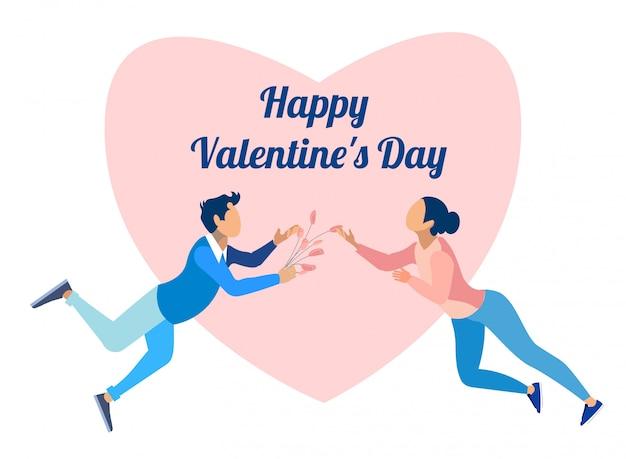 Heureuse saint valentin et couple amoureux Vecteur Premium