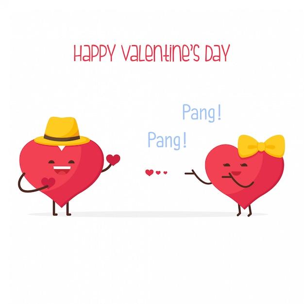 Heureuse saint valentin, couple mignon joli coeur Vecteur Premium