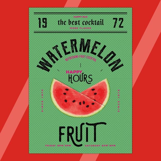 Heureuses Heures - Watermelon Vecteur Premium