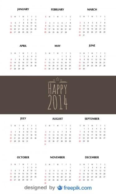 Heureux 2,014 calendrier Vecteur gratuit