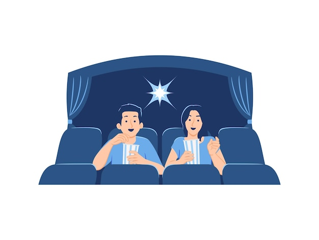 Heureux Amis Hommes Femmes Couple Regarder Un Film Et Manger Du Maïs Soufflé Au Cinéma Ou Au Cinéma Concept Illustration Vecteur Premium