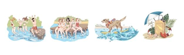 Heureux amis en vacances, les gens sautent dans l'eau, les femmes sont assises sur la jetée, chien dans des lunettes de soleil sur la planche de surf, ensemble d'été Vecteur Premium