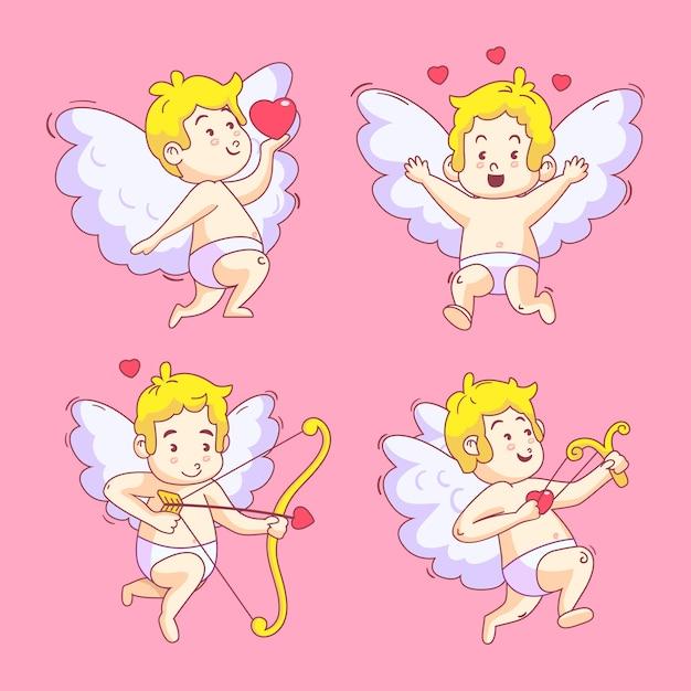 Heureux Ange Cupidon Enfantin Dessiné à La Main Vecteur gratuit