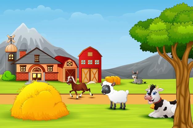 Heureux animal de ferme dans la basse-cour Vecteur Premium
