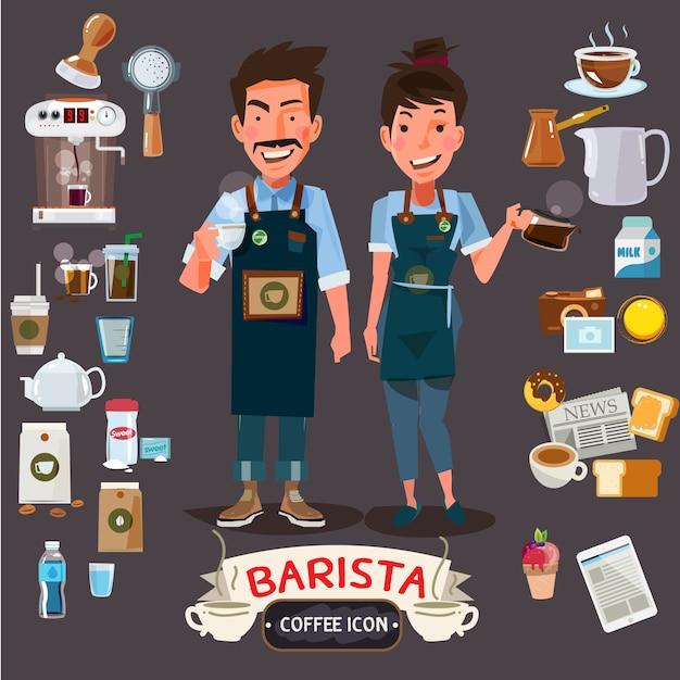 Heureux barista homme et femme tenant une tasse et un pichet Vecteur Premium