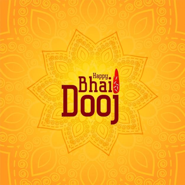 Heureux bhai dooj illustration décorative jaune Vecteur gratuit