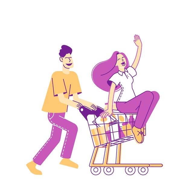 Heureux Couple Caractères Fool In Supermarket Riding Trolley Vecteur Premium