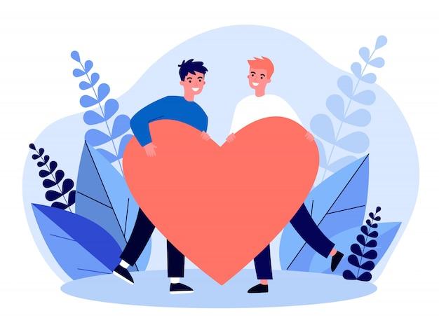 Heureux Couple Gay Mâle Tenant Coeur Rouge Vecteur Premium
