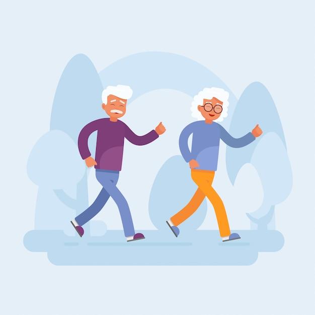 Heureux Couple De Personnes âgées En Cours D'exécution Dans Le Parc Vecteur Premium