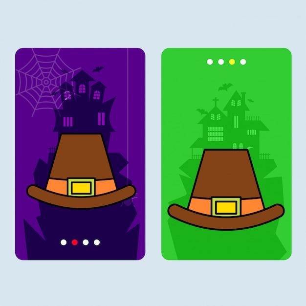 Heureux design invitation halloween avec vecteur de chapeau Vecteur gratuit