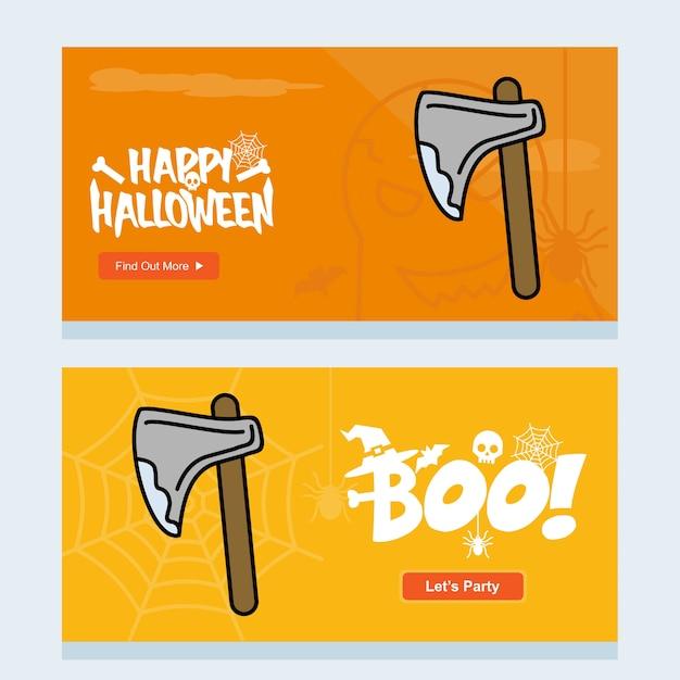 Heureux design invitation halloween avec vecteur de hache Vecteur gratuit