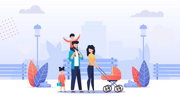 Heureux dessin animé famille marchant ensemble dans le parc Vecteur Premium