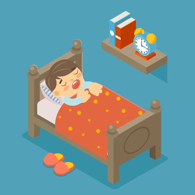 Heureux De Dormir. Garçon Endormi. Jeune Enfant, Personne Mignonne, Doux Rêve, Chambre Confortable Vecteur gratuit