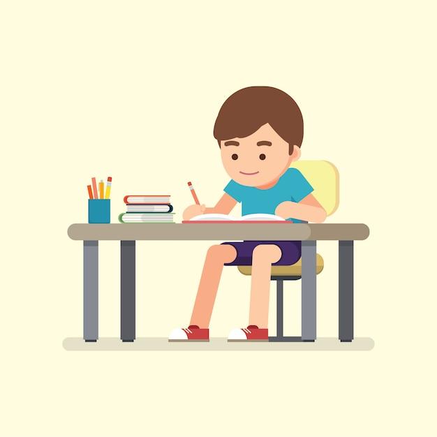 Heureux écolier mignon écrit pour faire ses devoirs, concept d'étude, illustration vectorielle. Vecteur Premium