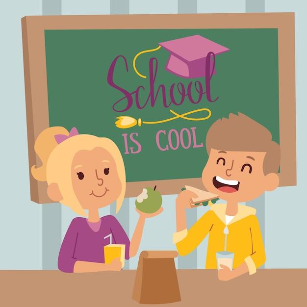 Heureux écoliers en classe, illustration. garçon et fille déjeunant ensemble dans la salle de classe. sourire d'enfants à l'école, personnages de dessins animés Vecteur Premium