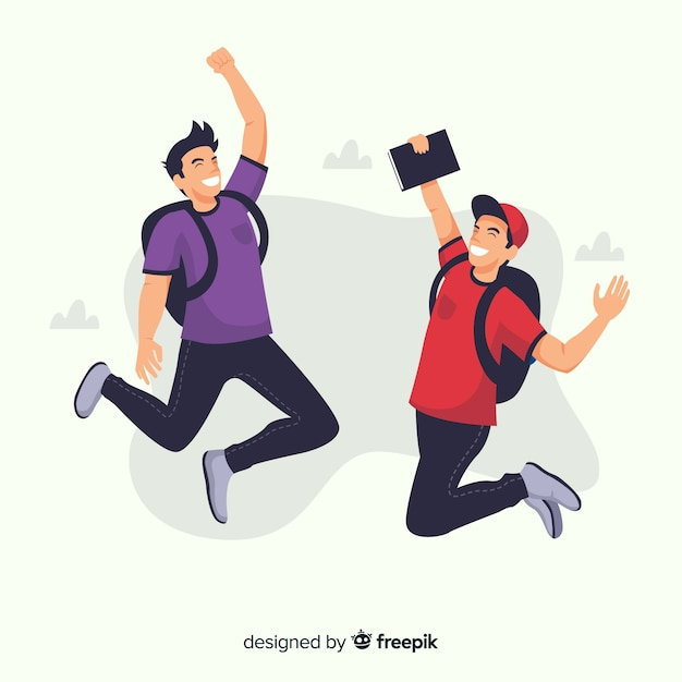 Heureux élèves sautant avec un design plat Vecteur gratuit