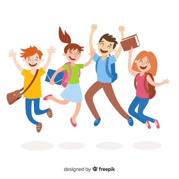 Heureux élèves sautant Vecteur gratuit