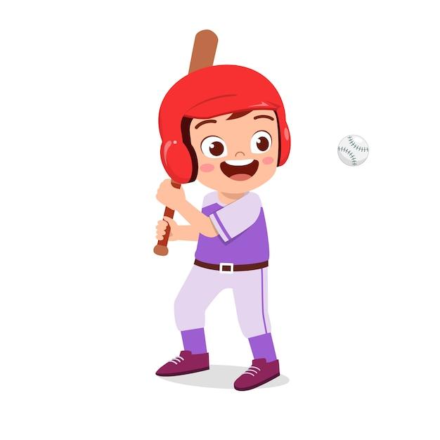 Heureux enfant mignon garçon joue illustration de baseball de train Vecteur Premium