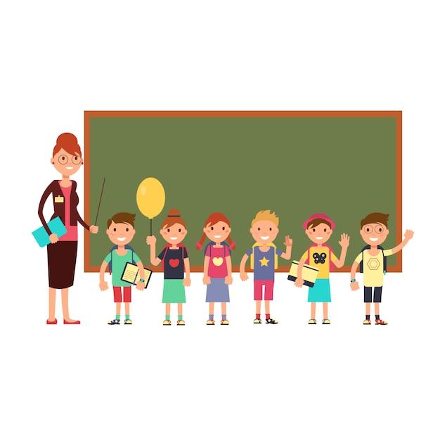 Heureux enseignant avec des enfants à l'école. enseigner aux enfants fond de vecteur Vecteur Premium