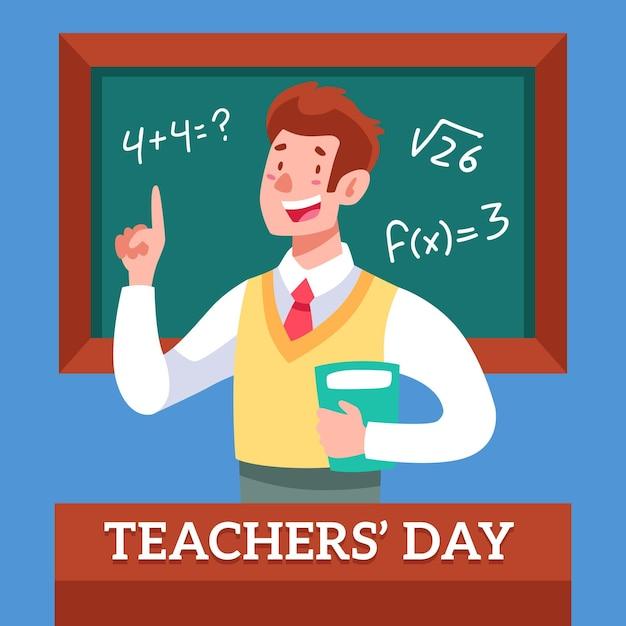 Heureux Enseignant Tenant Un Livre Devant Le Tableau Vecteur gratuit