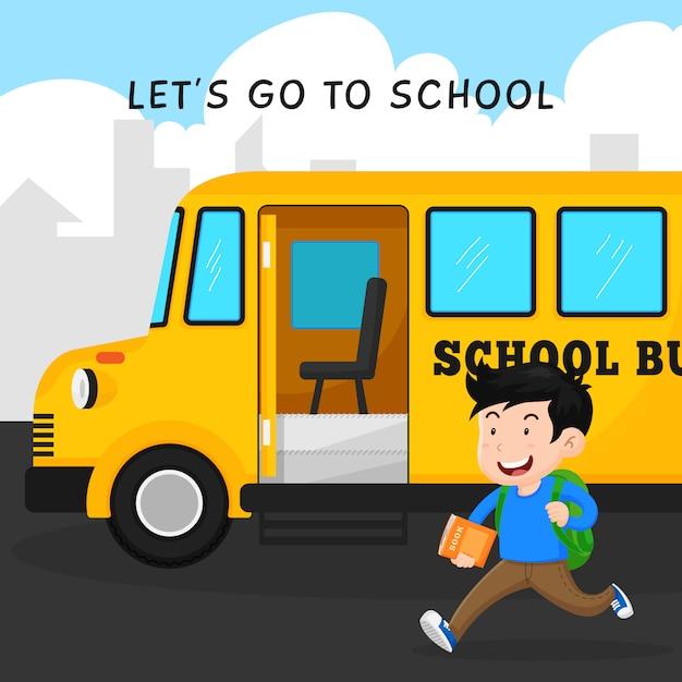 Heureux étudiant aller à l'école avec la conception d'autobus vector illustration Vecteur Premium