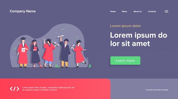 Heureux étudiant Diversifié Célébrant Le Modèle Web De Remise Des Diplômes Vecteur gratuit