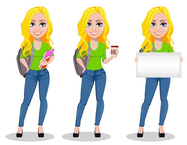 Heureux étudiant avec sac à dos Vecteur Premium