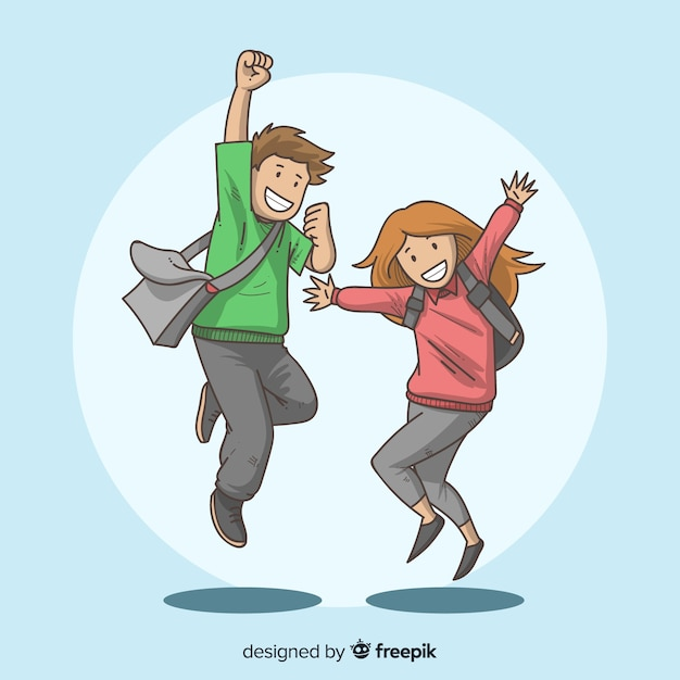 Heureux étudiants dessinés à la main en sautant Vecteur gratuit