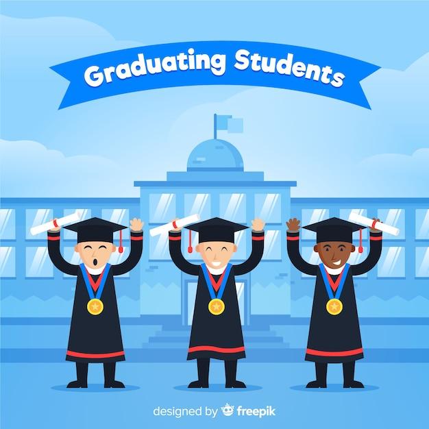 Heureux étudiants diplômés avec design plat Vecteur gratuit