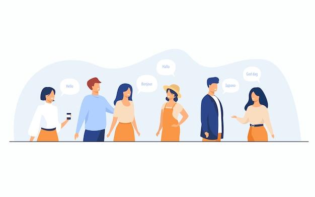 Heureux étudiants Internationaux Parlant Différentes Langues Vecteur gratuit